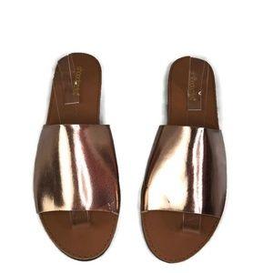 ShoeDazzle Bea Rose Gold Metallic Sandal Slides